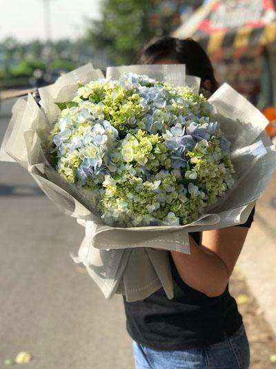 Bó hoa cẩm tú cầu xanh đẹp