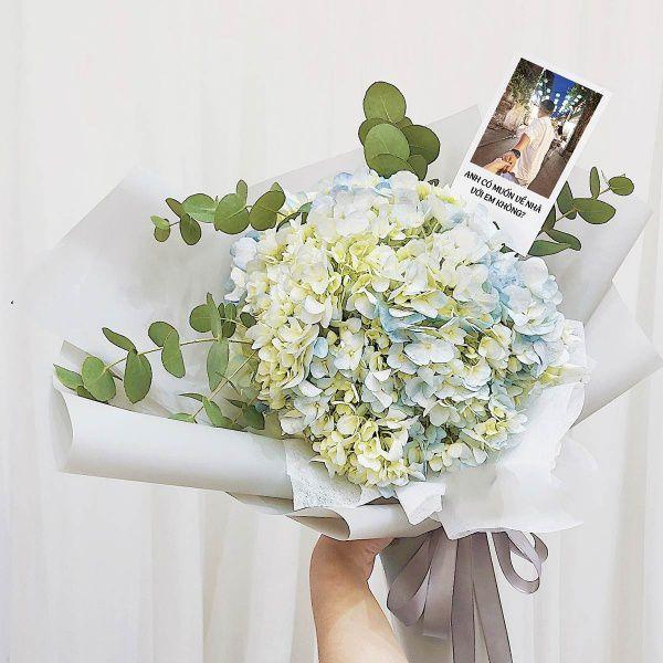 Bó hoa cẩm tú cầu xanh