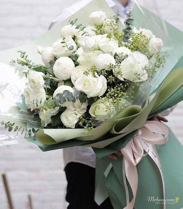 Bó hoa màu trắng đẹp