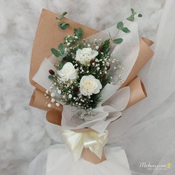 Bó hoa hồng trắng 3 bông đẹp