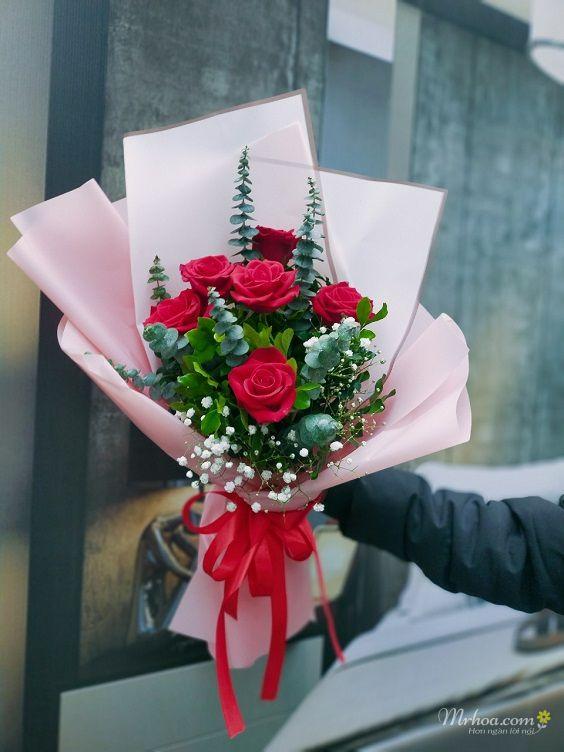 Bó hoa hồng đỏ 5 bông