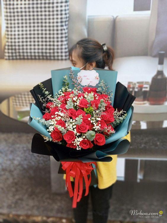 Bó hoa hồng đỏ cực đẹp