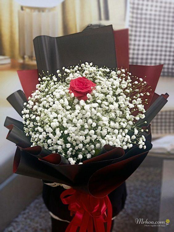 Bó hoa hồng đỏ và 1 bông hoa baby