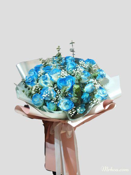Bó hoa hồng xanh bán chạy