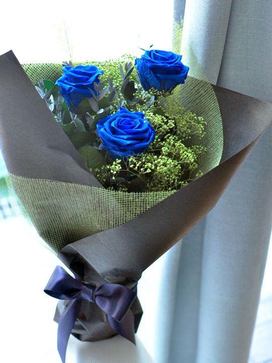 Bó hoa hồng xanh 3 bông