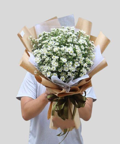 Bó hoa thạch thảo trắng
