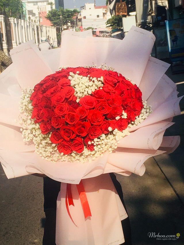 Bó hoa hồng đỏ hình trái tim đẹp nhất