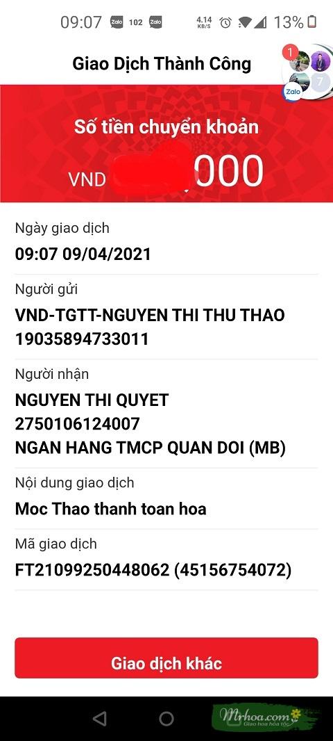 Chị Thảo chuyển tiền cho MrHoa